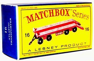 Matchbox-Lesney-No-16-SUPER-ATLANTIC-TRAILER-Repro-D-style-Empty-Box