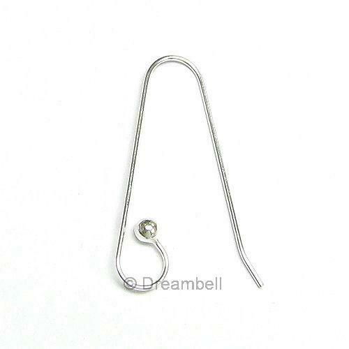 2x Sterling Silver Ear Wire Earring Dot Ball Hook SE603W