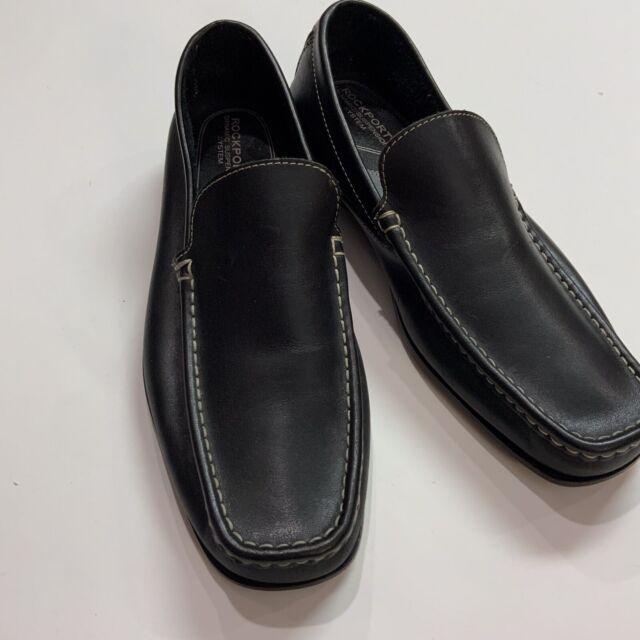 ROCKPORT Men's Black Genuine Leather Slip On Loafer Shoes- Size 10 M