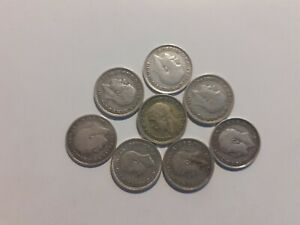 GB2}EIGHT OLD SILVER THREEPENCES 1913,16,17,31,32,34,36 & 1940
