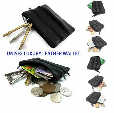 Unisex mens ladies soft black leather COIN pouch purse 3 zip wallet¬/_UK stock
