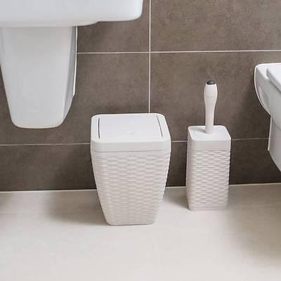 Bagno 5l Rifiuti Spazzatura Flip Coperchio Rattan Quadrato Toilet Brush & Titolare Panna- Qualità Eccellente