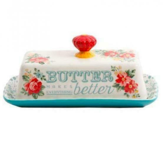 The Pioneer Woman Vintage Floral Butter Dish with Teal Base