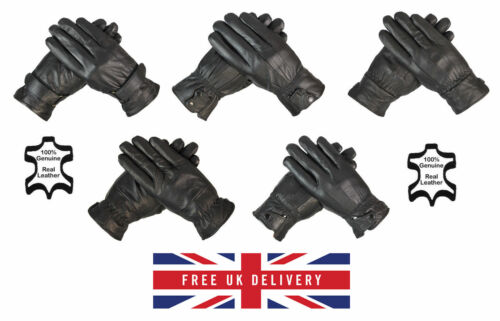 Mens Leather Driving Gloves 100/% Genuine Leather Fleece Lined Winter Gloves