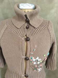 FREE PEOPLE Tan Short Sleeve CARDIGAN SWEATER POSIES Flowers L ...