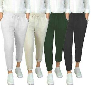 Pantalone-Uomo-Lino-Beige-Casual-Estivo-Primaverile-Tasche-America-Slim-Fit