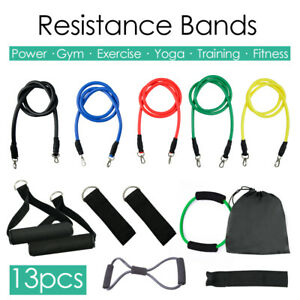 Details about 13Pcs Resistance Bands Latex Yoga Elastic Strap Tube Exercise  Home Gym Fitness