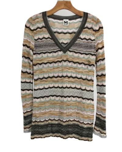 90s Grey Chevron Zig Zag Stretchy Shirt Blouse S