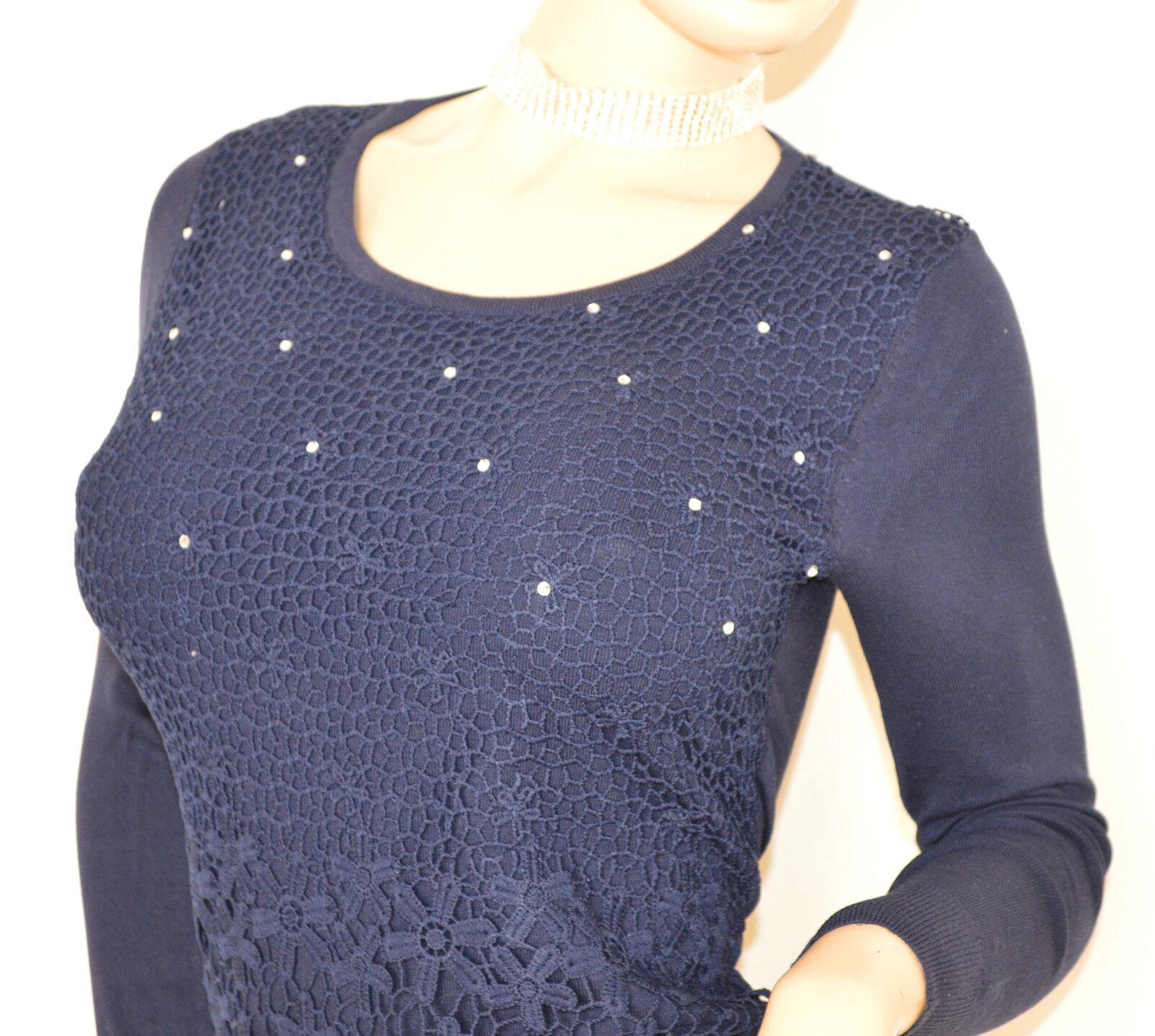 MAGLIETTA maglia donna BLU sottogiacca sottogiacca sottogiacca cerimonia girocollo ricamata strass E50 299fd7