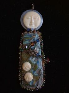 Mother-Shield-Pendant-Chalcedony-Carved-Bone-Faces-Hand-Crafted