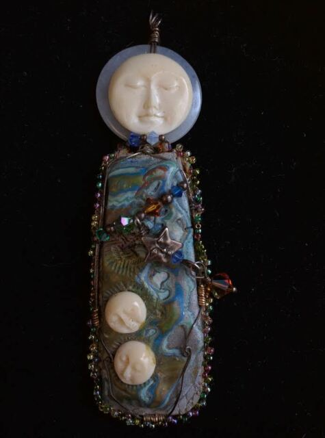 Mother Shield Pendant Chalcedony Carved Bone Faces Hand Crafted