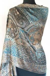 Iridescent-Silk-Jamawar-India-Paisley-Shawl-Black-amp-Turquoise-Jamavar-Wrap