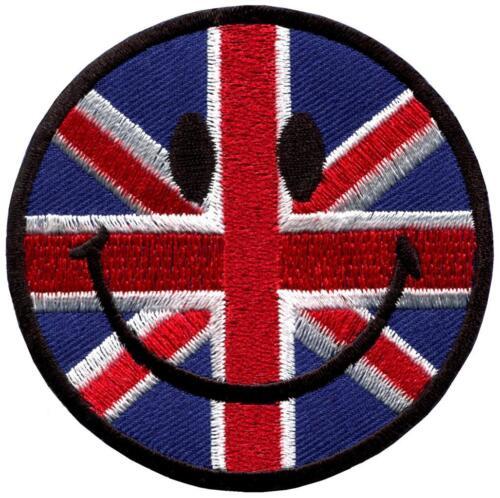 Smiley face UK British flag Union Jack smile retro applique iron-on patch G-136