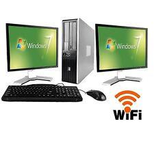 """HP Desktop PC Computer Core 2 Duo 4GB RAM DUAL 19"""" LCD Monitor WIFI Windows 7"""
