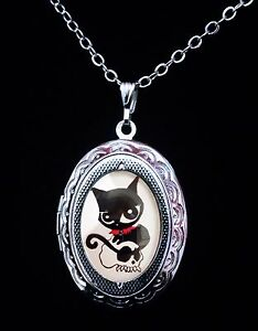"Ruby Gloom Doom Kitty Style Black Cat Enamel Charm Pendant Necklace 18/"" # 184"