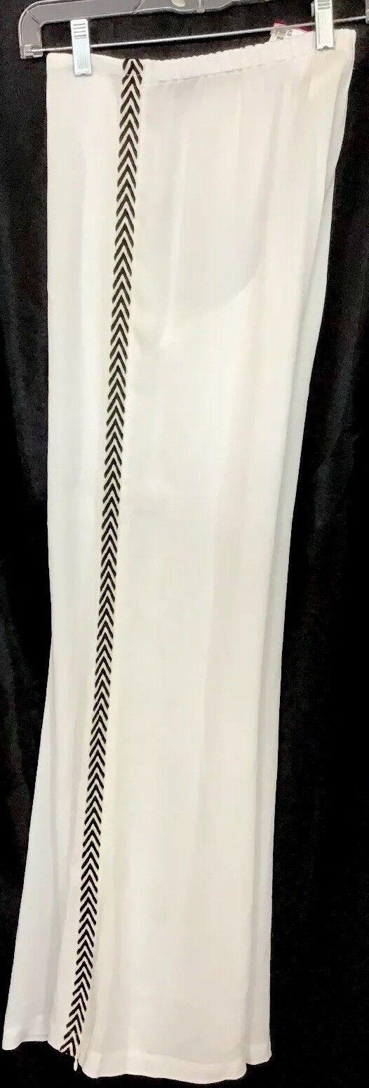 Figue Pant White Simon Side Leg Zipper Wide Leg With Pinstripe Nwt  395 Size XS