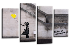 BANKSY-Art-Picture-Yellow-Balloon-Girl-Hope-Print-Love-Peace-Wall-Canvas