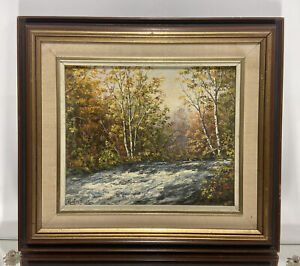 VTG. Canadian Fall Landscape Signed Mary Kendrick Oil Painting Cottage Country