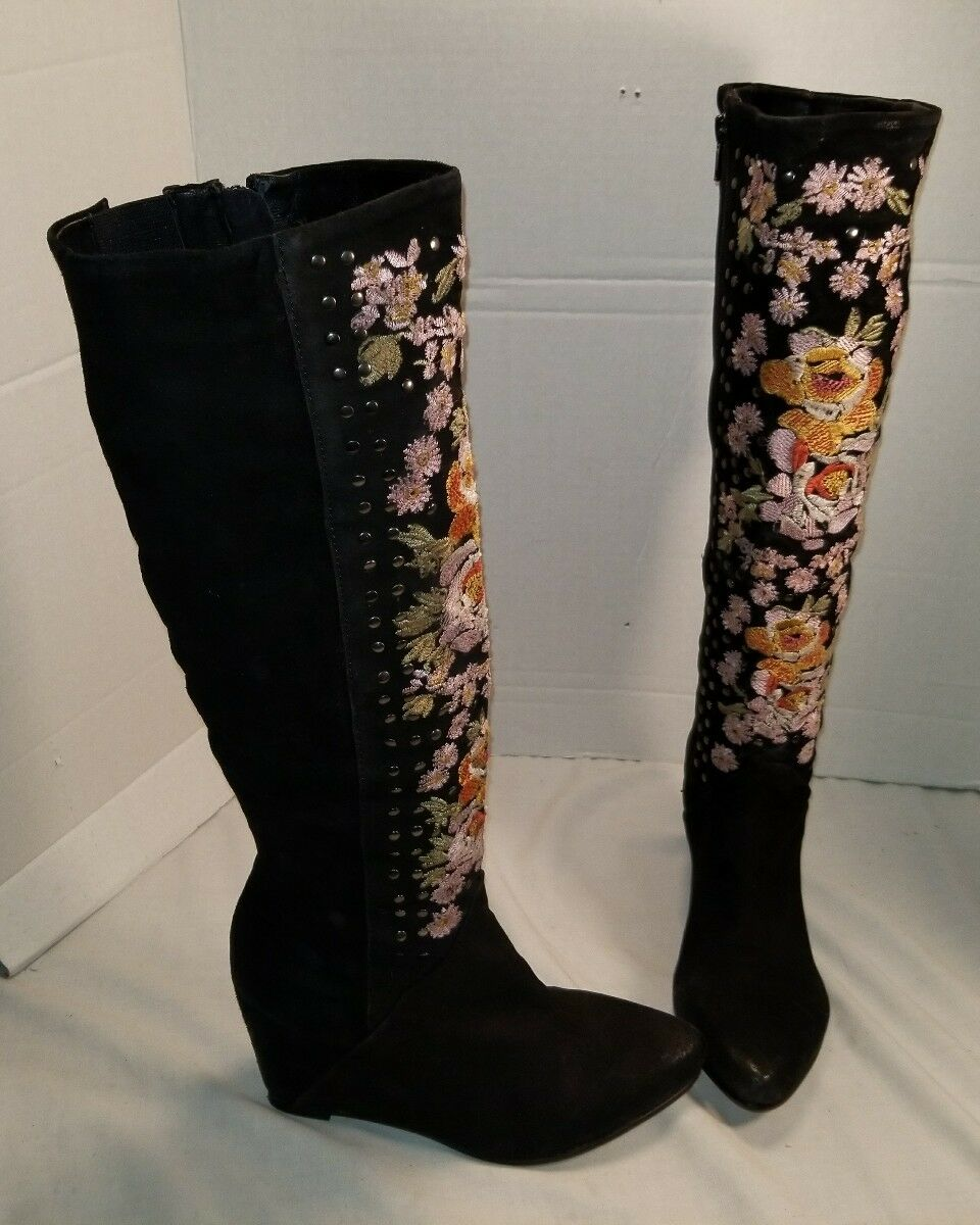 NEW FREE PEOPLE WOMEN'S BLACK PENNY LANE TALL EMBROIDERED SUEDE BOOTS US 6 EU 36