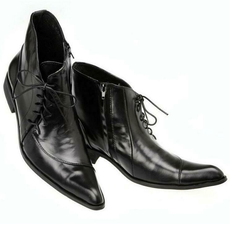 Size 5-12 Black Real Leather Ankle Boots Formal Prom Dress Mens shoes