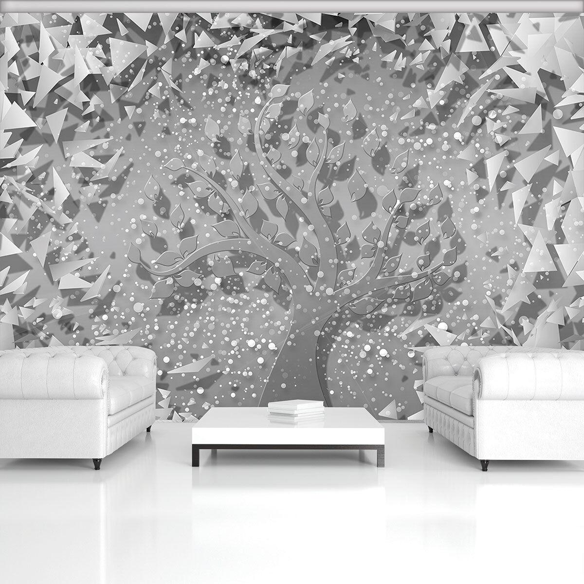 VLIES WANDBILD TAPETE FOTOTAPETE POSTER  Grau Abstraktion Silber Baum 3FX3753VE