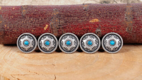 10PC 26X26MM Antique Silver Flower Turquoise Rope Edge Screwback Saddle Conchos
