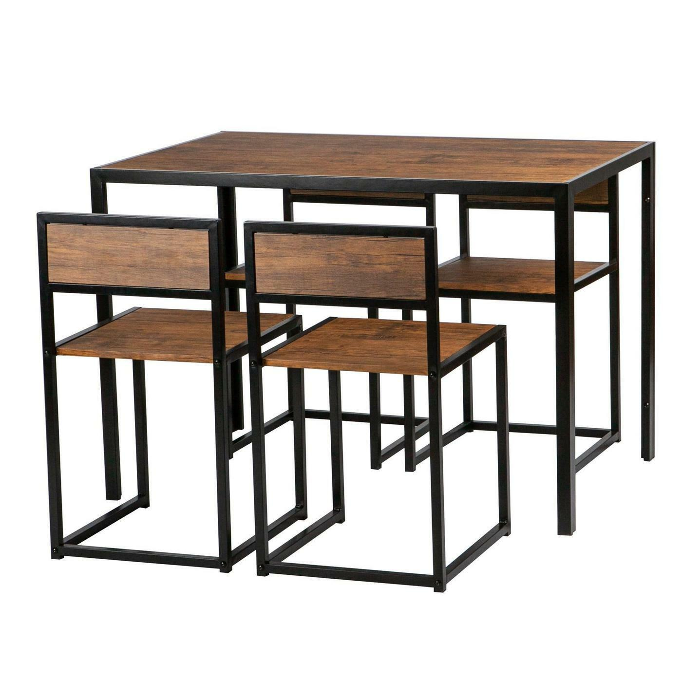 Picture of: Ikea Fusion Space Saving Cubed Dining Room Table Set 4 Chairs Walnut Finish For Sale Ebay