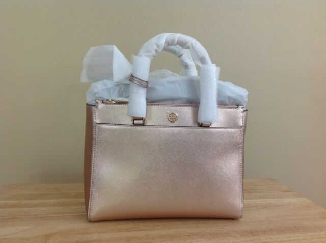 22a813cce3d Tory Burch Robinson Small Metallic Leather Double Zip Tote Light Rose Gold  NWT