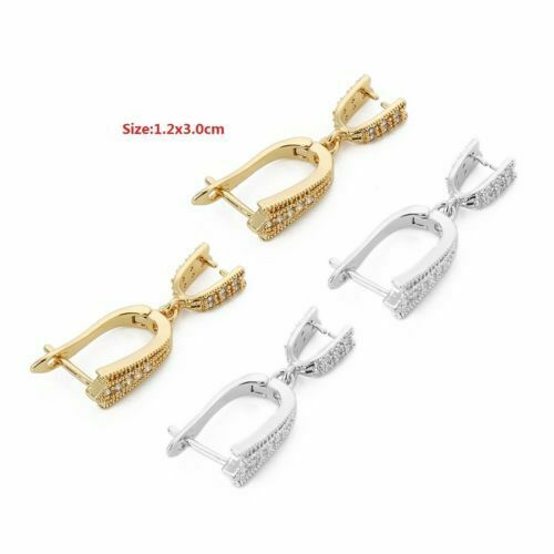 2pcs 18K Gold Plated Crystal Paved Clamp Pinch Clip Bail Hooks Earring Findings