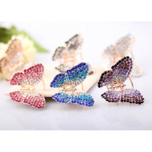Butterfly-Claw-Girl-Gold-Plated-Crystal-Rhinestone-Hair-Clip-Clamp-Jaw-Hairpin