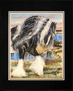 Matted-Horse-Art-Print-034-Gypsy-Vanner-By-The-Sea-034-11-034-x14-034-Mat-by-Roby-Baer-PSA