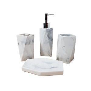 Marble 4 Piece Bathroom Accessory Set White Grey Soap Dish