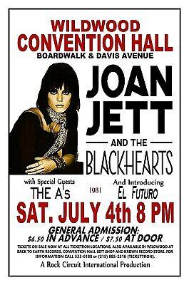 "JOAN JETT  BLACKHEARTS 1981 Wildwood NJ Convention Hall 3/"" Pin Back Button #173"
