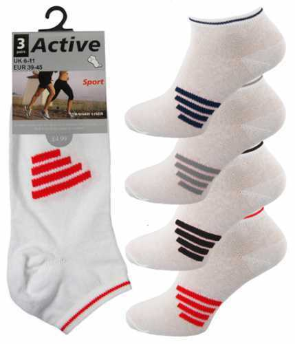 12 da uomo Active Sport cotone ricco Trainer calzini Liner//a Righe Bianco//UK 6-11