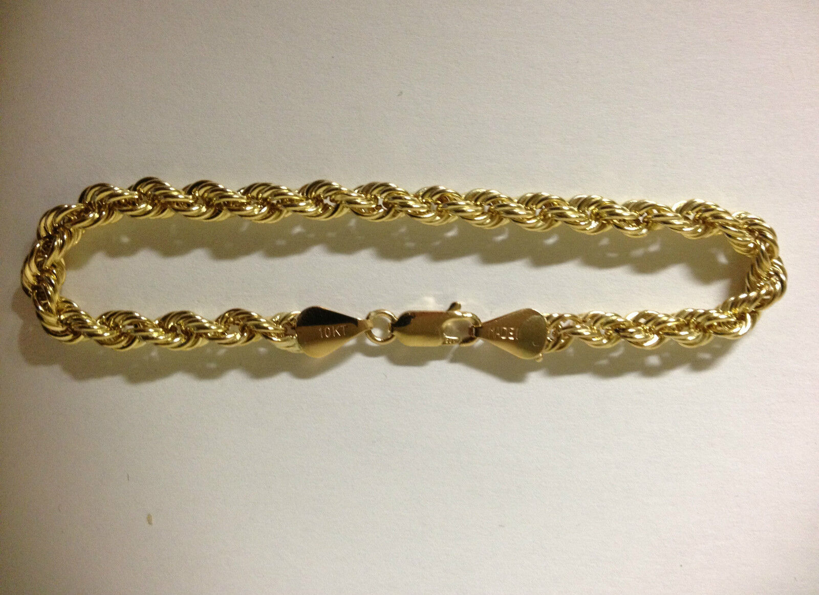 Men Women Real 10k Yellow gold Bracelet Hollow Rope Chain 4mm 8 inch 8  Hallow