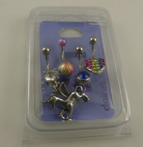 4-belly-button-ring-piercing-body-jewelry-unicorn-Pegasus-rainbow-navel-naval