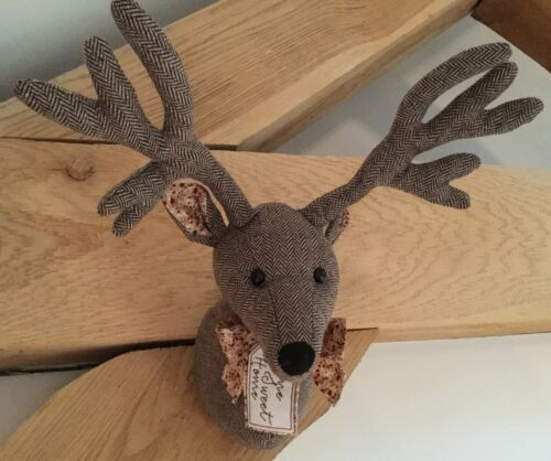 Home Sweet Home Reindeer Head Wall Sculpture Decoration Fabric Stag Vintage