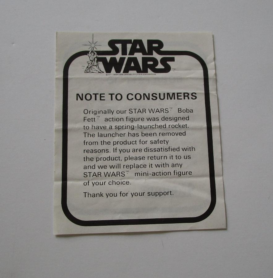 Boba Fett 1979 Note to Consumers STAR WARS Vintage Original Insert Paperwork