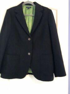 Lands-039-End-Womens-Black-Blazer-Jacket-Wool-Blend-2-Button-Green-Lined-Size-16W