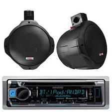 "2 Black 6.5"" Inch Marine Wakeboard Speakers& Kenwood CD USB Pandora AM FM Radio"