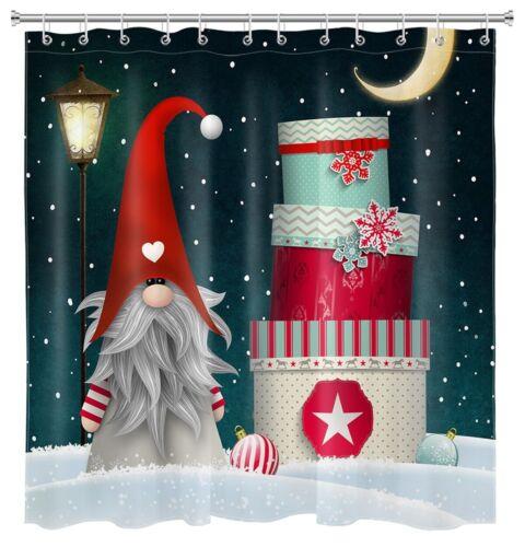 Christmas Cake Balls Dwarf Elves Shower Curtain Sets For Bathroom Decor w// Hooks