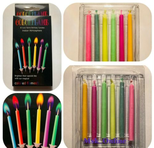 Birthday Candles Party 6 X Multi Colour Flame Rainbow novelty non toxic cake