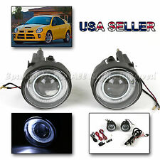 "FOR 03-05 DODGE NEON SEDAN SRT4 SE 3"" PROJECTOR FOG LIGHTS+WHITE LED HALO RING"