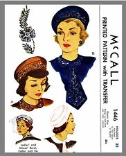 """McCall #1204 Girl/'s Hats Caps Fabric Sewing Pattern Chemo Alopecia 22/"""""""