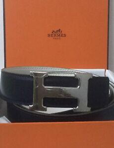 Cinturon-Hebilla-de-paladio-HERMES-Vintage-Azul-Marino-Blanco-Reversible-Cinturon-De-Cuero-105