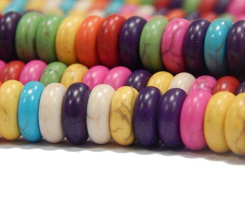 110 turquoise gemme perles multicolores 8 mm Bricolage Bijoux Pierre Mix Rondell Best g204