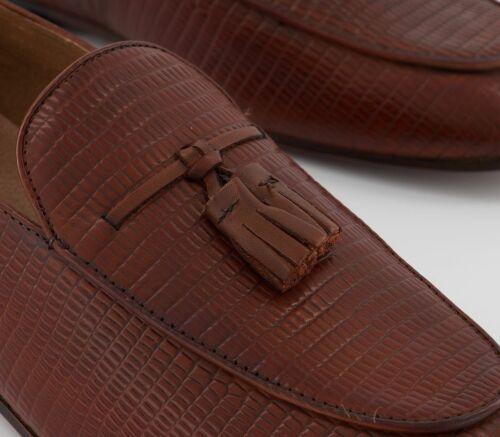 Mens Hudson London Bolton Tassel Loafers Tan Snake Formal Shoes