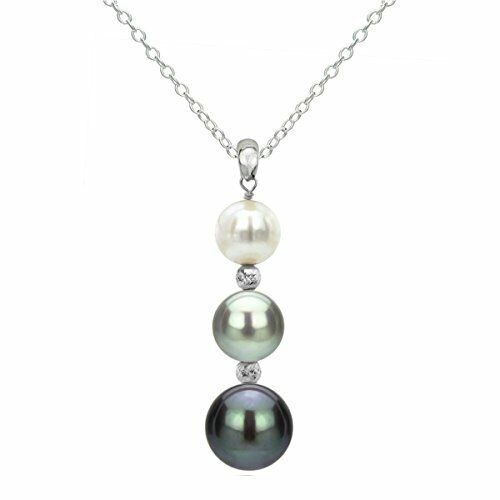 Sterling Silver Graduated 5-9.5mm Multi Color Freshwater Pearl and Beads Pendant