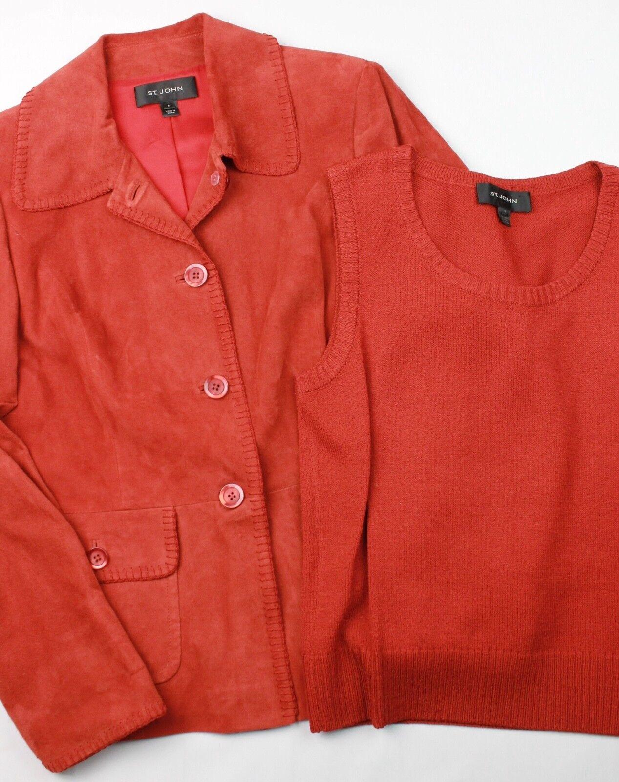 St. John Caviar Collection Rust orange orange orange Goat Suede Blazer Santana Knit Set 8 S 804a53