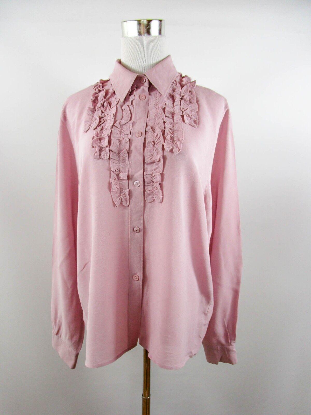 Designer damen Ruffle Victorian Elegant Evening Silk Shirt Blouse sz BF97
